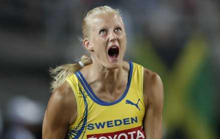 GULDVRÅLET I JAPAN Carolina Klüft skriker ut sin glädje efter guldet i Osaka 2007.