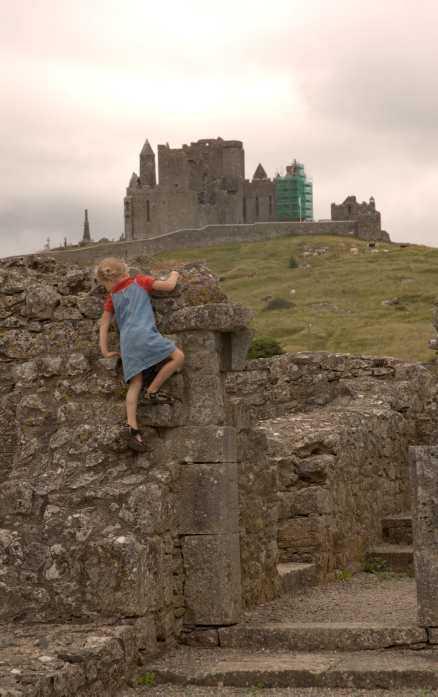 Moa klättrar på ruinerna av klostret Hore Abbey. I bakgrunden syns slottet Rock of Cashel.