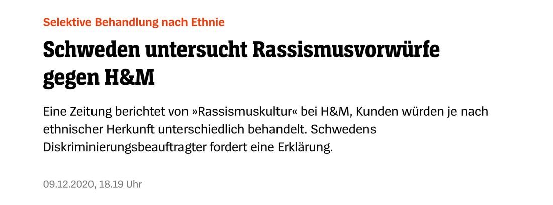 Tyska Der Spiegel var ett av flera tyska medier som tog upp 200 sekunders avslöjande om klädjätten H&M.