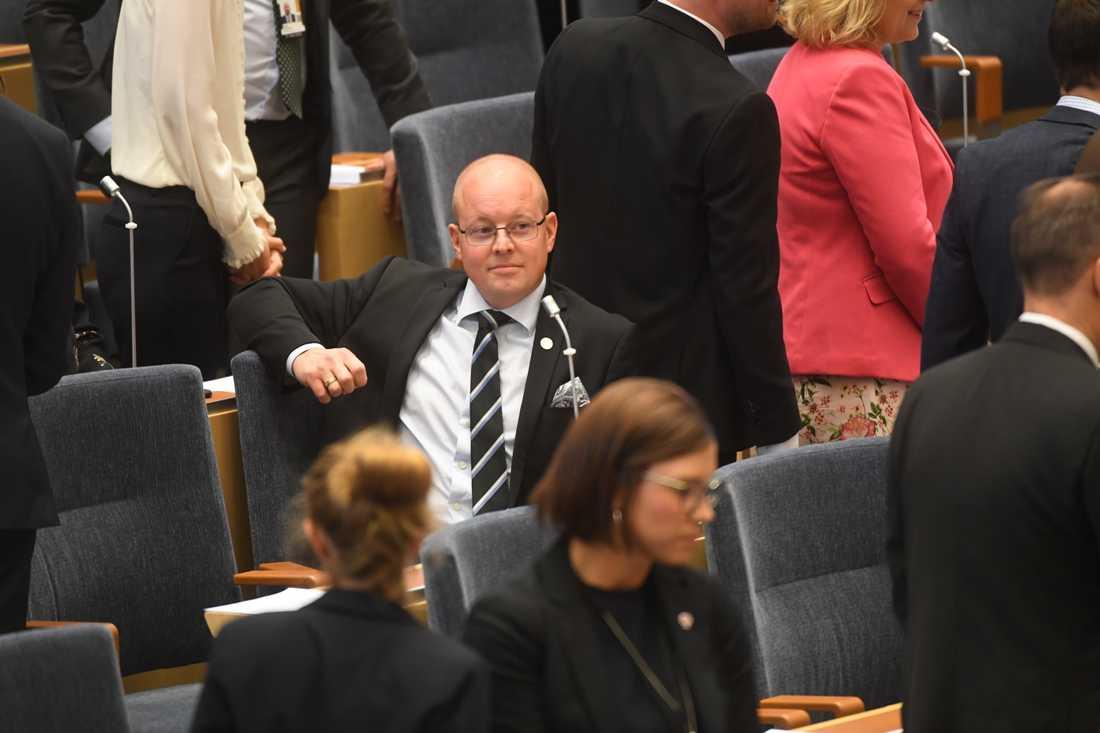 Sverigedemokraten Björn Söder förlorade striden om andre vice talmansposten i riksdagen mot vänsterpartisten Lotta Johnsson Fornarve. Arkivbild