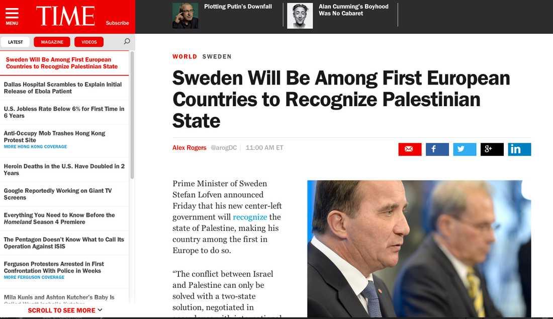 Klassiska Time tog upp nyheten.