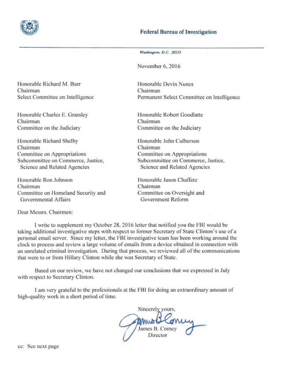 FBI-cefen Comeys nya brev.