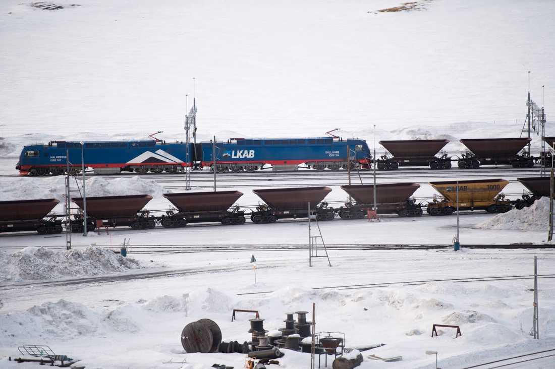 Ett malmtåg har spårat ur vid Gäddmyr mellan Kiruna och Gällivare. Arkivbild.