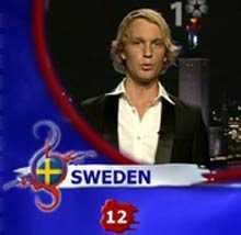 """""""Twelve points to Sweden"""" , försökte sig Björn Gustafsson på när han levererade röster."""