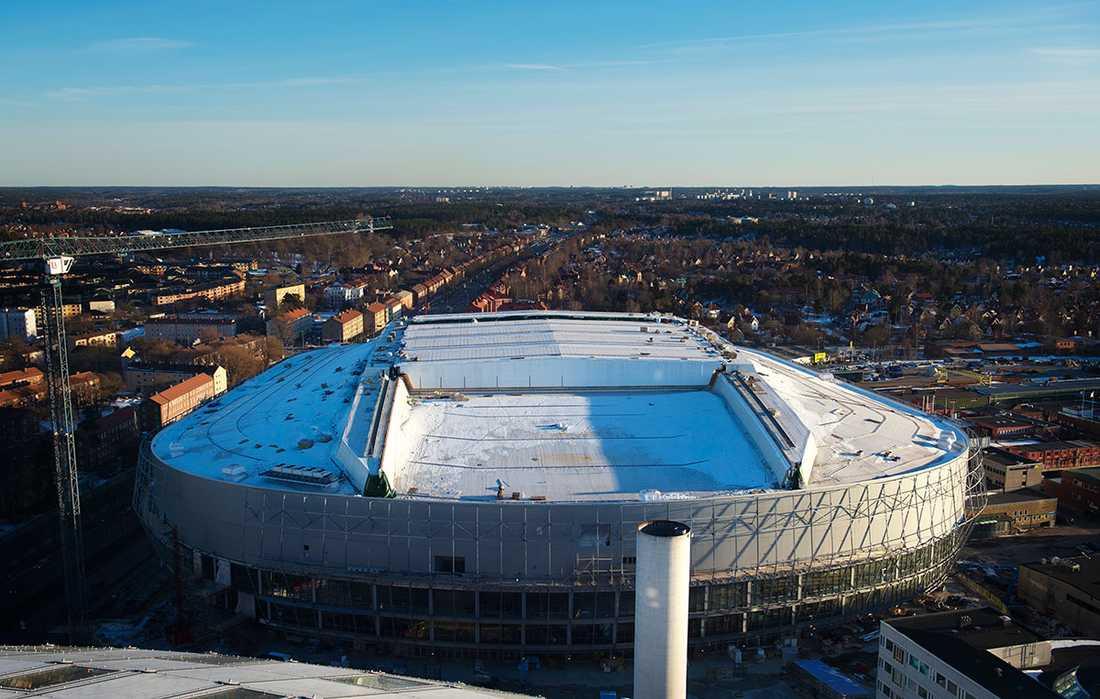 Mars 2013. Arenan, sett från Globens tak.