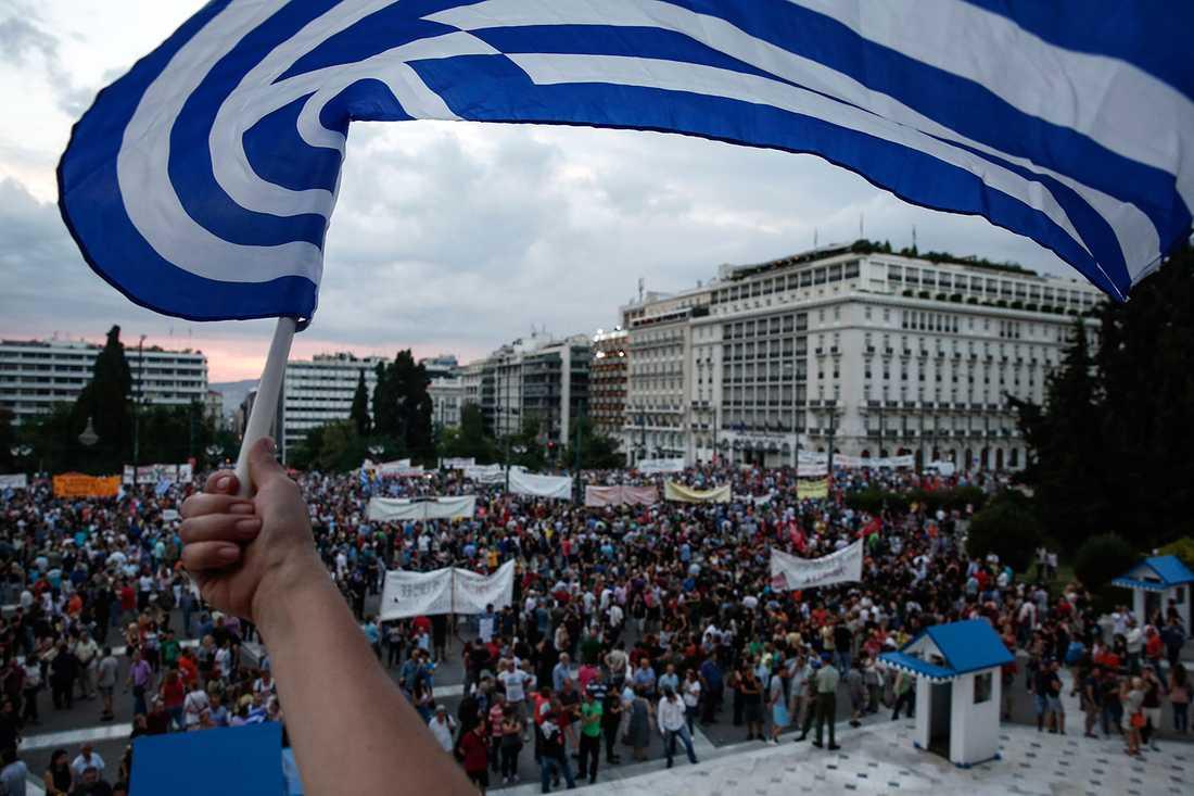 Protester i Aten.