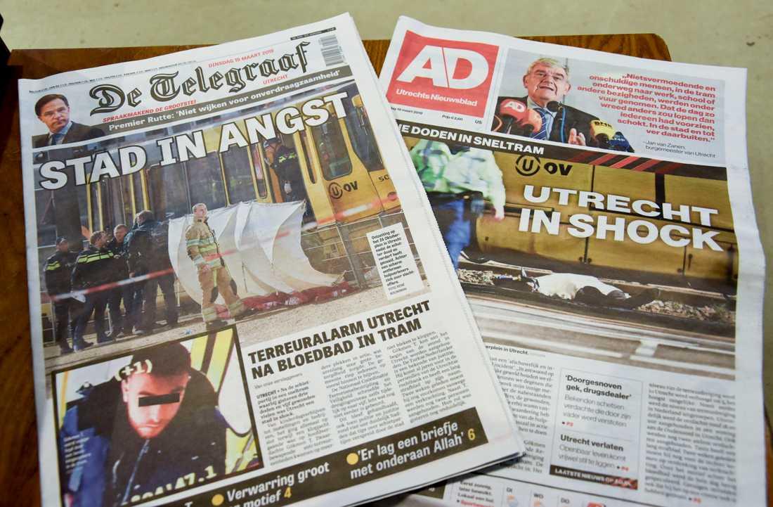 """""""Stad i skräck"""" och """"Utrecht i chock"""" är några av rubrikerna i nederländska tidningar där attacken på spårvagnen i Utrecht uppmärksammas stort."""
