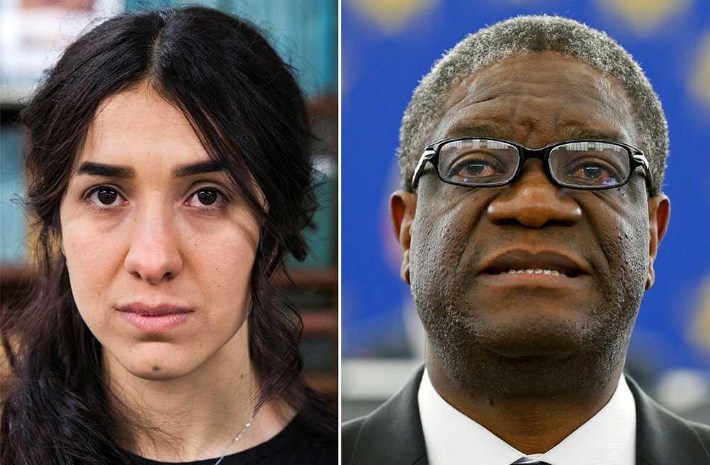 Nadia Murad, människorättsaktivist, och Denis Mukwege, läkare.