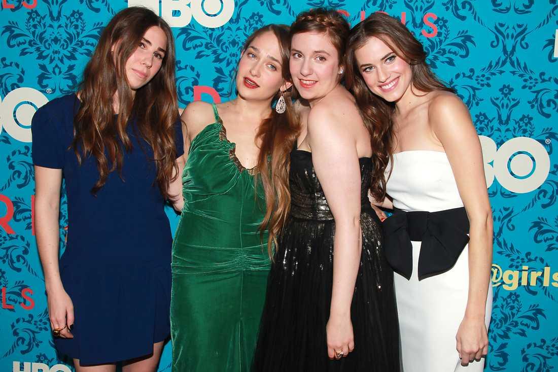 "Allison Williams med ""Girls""-kollegorna Zosia Mamet, Jemima Kirke och Lena Dunham."