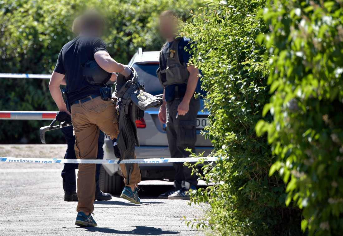 Polisens insatsstyrka på plats i Uppsala.