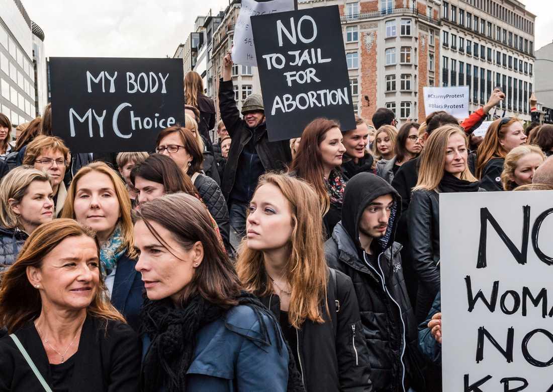 Demonstrationer mot skärpt abortlag i oktober 2016.