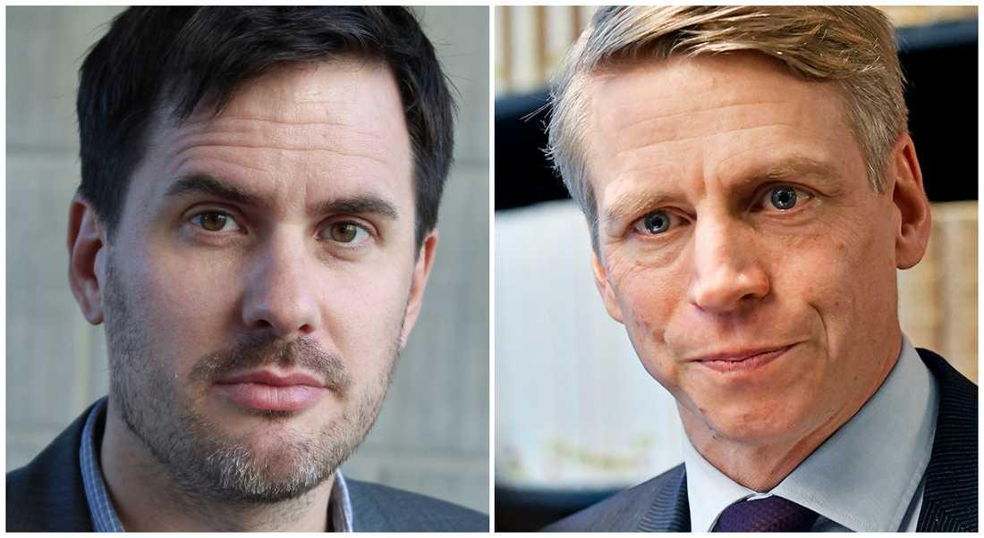 Regeringens Per Bolund (MP) och experten Jakob König är oense om ett nytt förslag som ska sätta ditt försäkringsskojare.