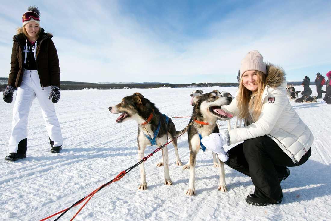 Tova och Linn passade på att gosa med hundarna.