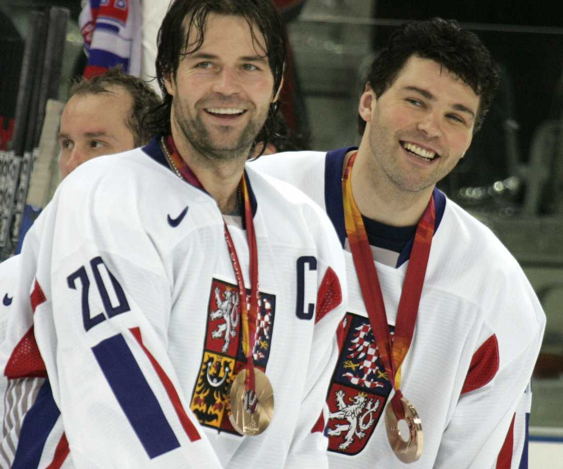 Robert Lang och Jaromir Jagr fick glädjas åt OS-brons 2006 efter 3-0 mot Ryssland i matchen om tredje pris. Tre Kronor vann guld.