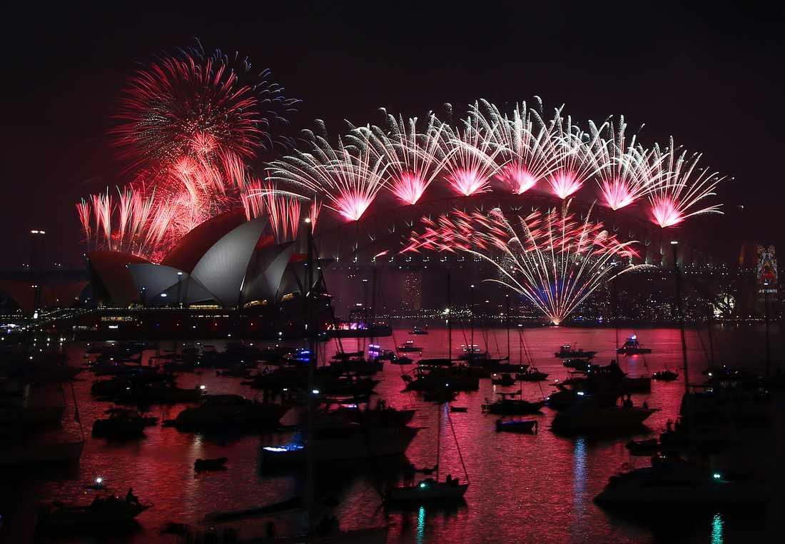 Fyrverkerier vid Sydney Harbour Bridge. Bilden är från ett tidigare år. Arkivbild.