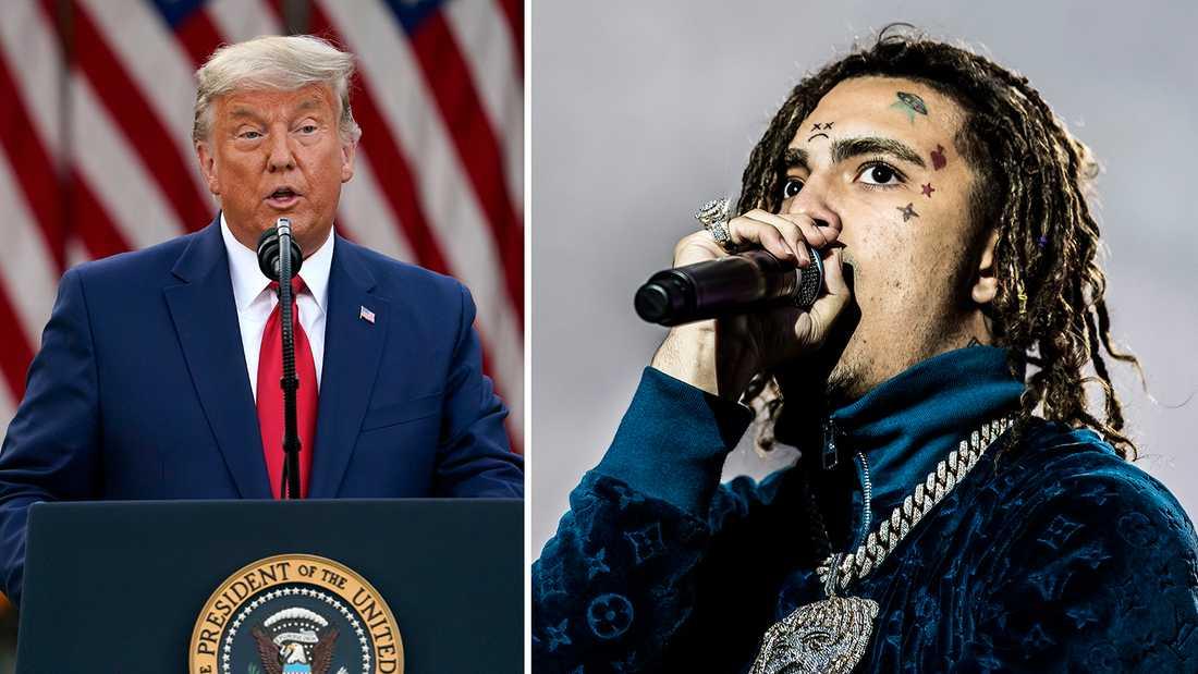 Rapparen Lil Pump (till höger) stöttade aktivt Donald Trump i valrörelsen. Men sedan röstade han aldrig...