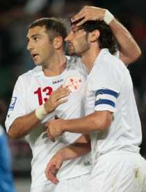 Två av Georgiens största stjärnor - Zurab Khizanishvili och Kakha Kaladze.
