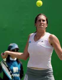 Utslagen. Sofia Arvidsson föll i två raka set mot Julia Vakulenko från Ukraina.