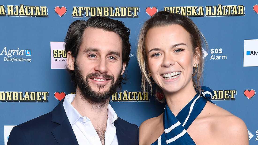 """Jacob Liebermann och Margaux Dietz på """"Svenska hjältar""""-galan 2018."""