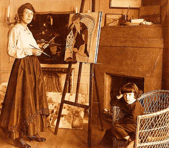 Sigrid Hjertén i arbete med ett porträtt av sonen iván 1916.