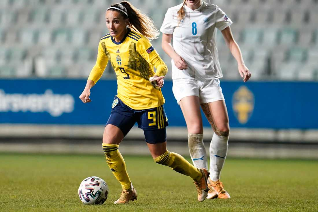 Kosovare Asllani under tisdagens EM-kvalmatch i fotboll mellan Sverige och Island på Gamla Ullevi.