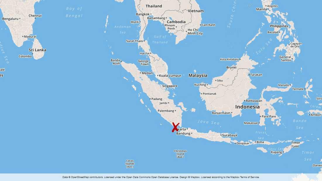 Skalvet inträffade på gränsen mellan öarna Sumatra och Java.