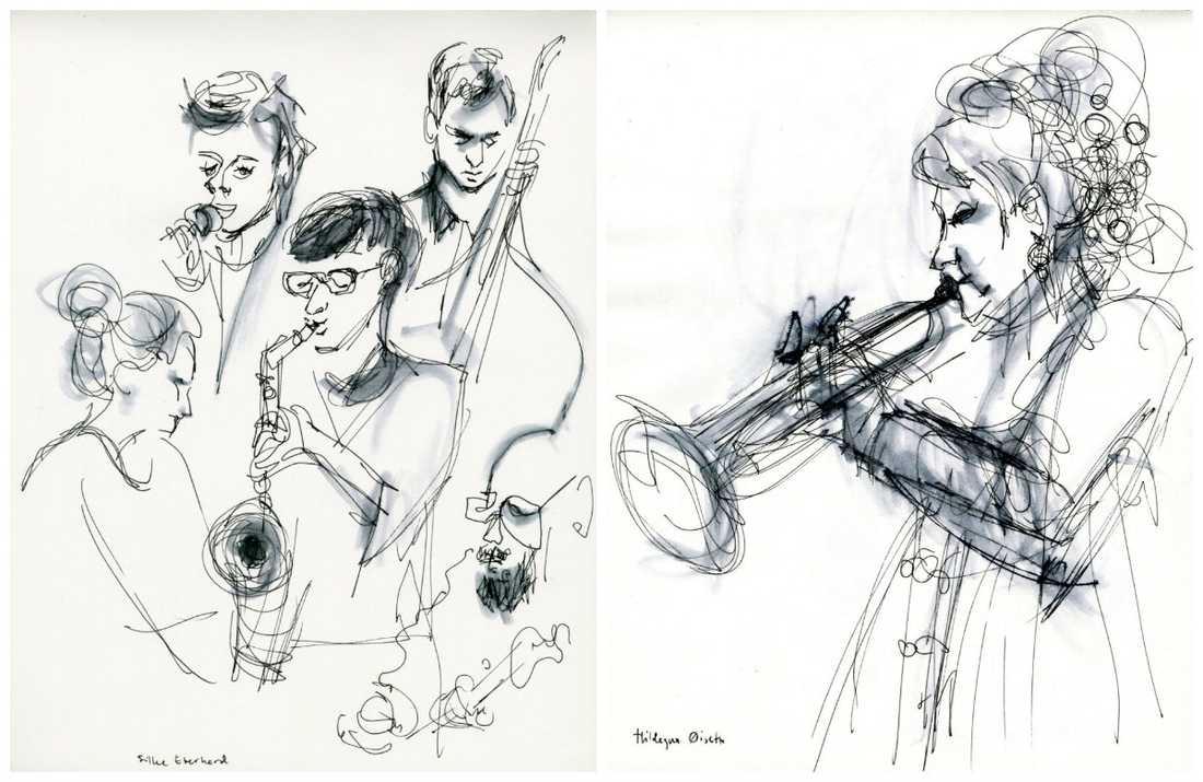 Silke Eberhard och Hildegunn Öiseth tecknade av Jenny Svenberg Bunnel på Stockholm Women's international jazz festival