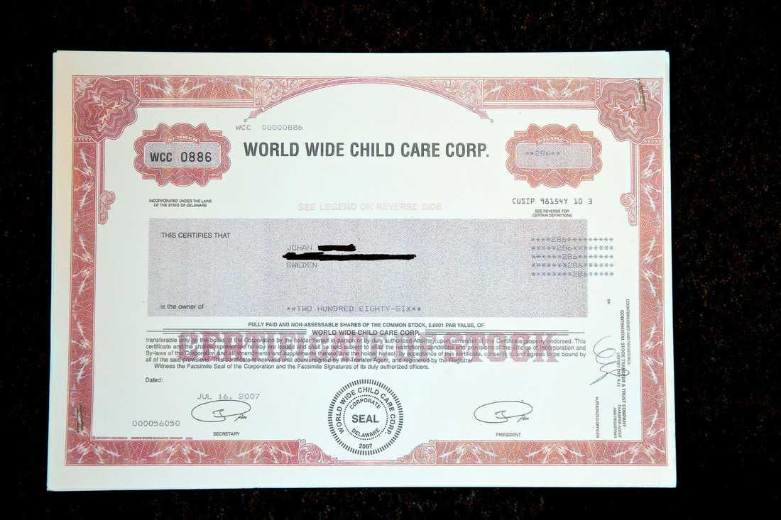 Exempel på en penny-stock, en i praktiken värdelös aktie som skickats hem till en person som lurats att investera i ett blufföretag.
