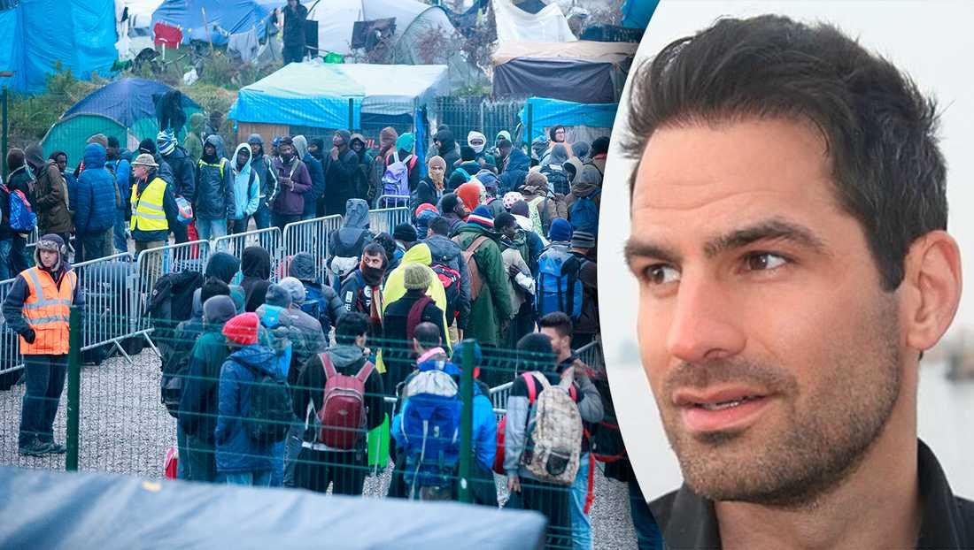 """Det är inte etiskt att låta vissa, ofta fysiskt och ekonomiskt starkare asylsökande, """"hoppa före i kön"""", på bekostnad av andra flyktingar som i flera år suttit fast i läger, skriver debattören. På bilden ett flyktingläger i Frankrike 2016."""