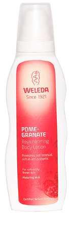 """Stoppa tiden! En bodylotion som aktivt motverkar för tidigt åldrande av huden. Ekologisk granatäpplekärn-olja, aprikoskärnolja och sheasmör hjälper till att stimulera cellförnyelsen. Weleda, """"Pomegranate  regenerating body  lotion"""", cirka 229 kronor,  shop.weleda.se."""