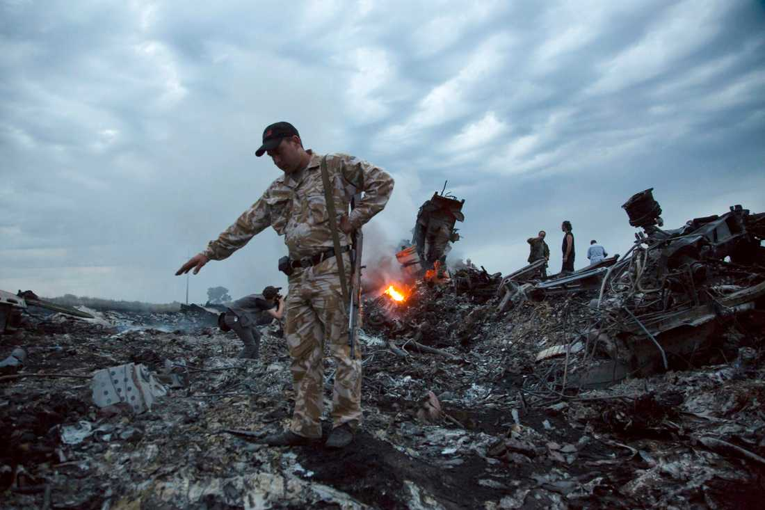 Nedslagsplatsen i östra Ukraina. Arkivbild.