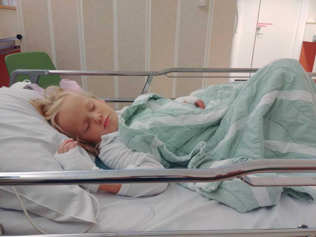Hedda lider av en allvarlig mag- och tarmsjukdom – här är hon på sjukhuset.