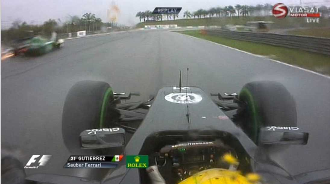 Esteban Guitierrez var oerhört nära att köra in i Ericsson. FOTO: VIASAT MOTOR