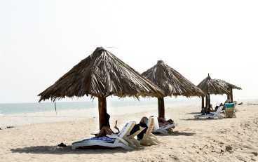 På stranden i Salalah är det ingen trängsel.