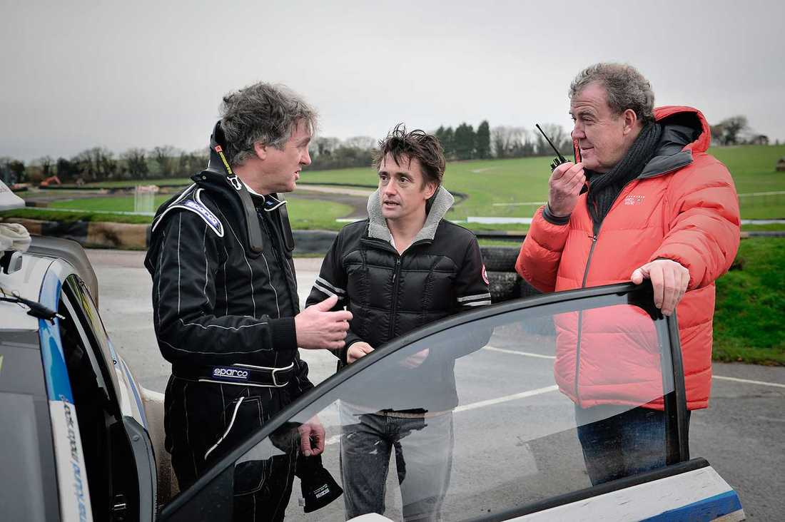 Top gear-programledarna James May, Richard Hammond och Jeremy Clarkson.