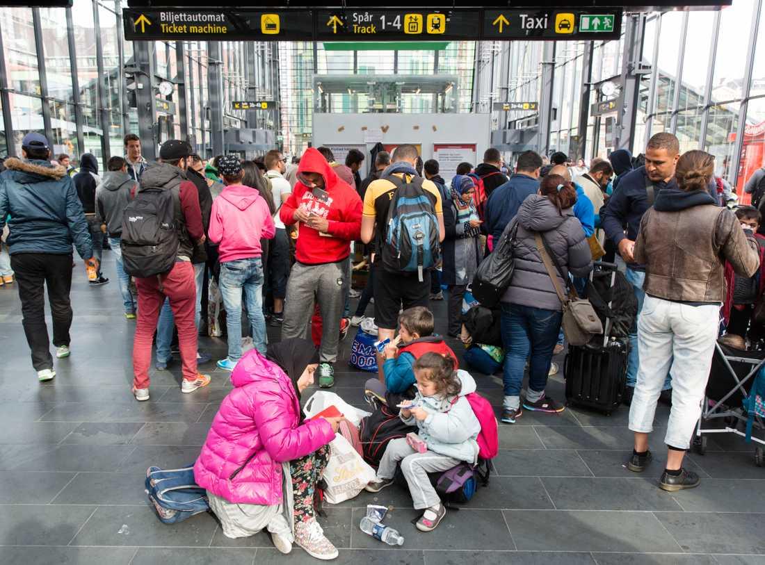 Flyktingar på Malmö centralstation.