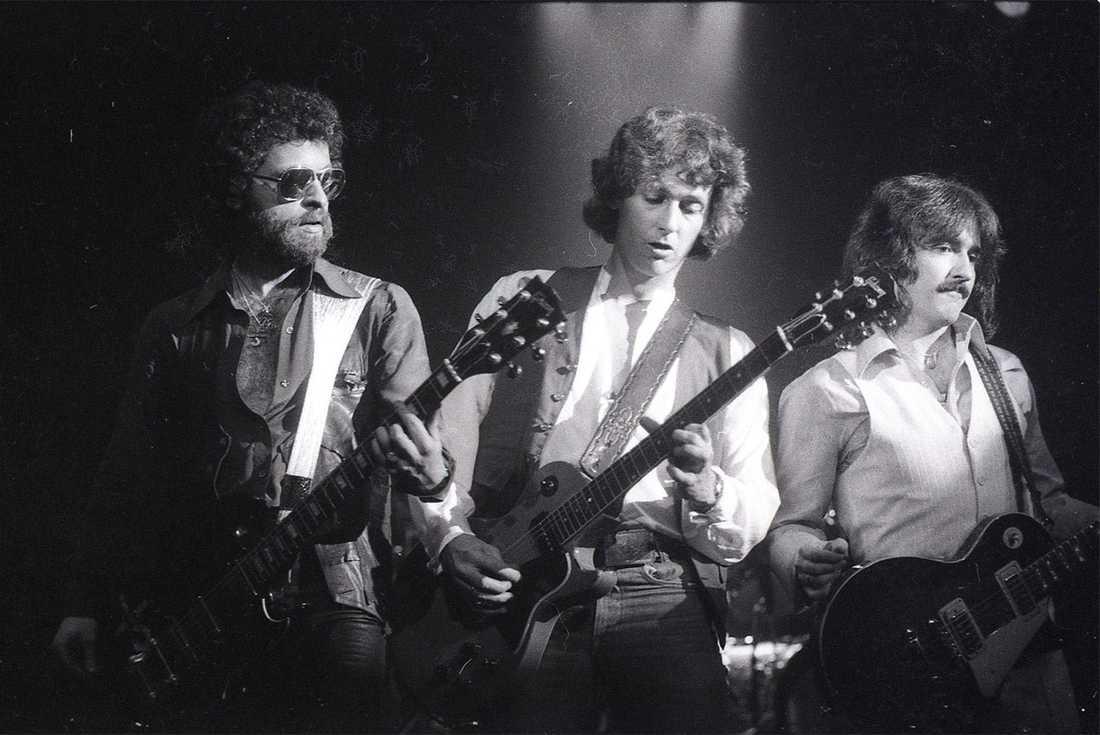 Eric Bloom, Buck Dharma och Allen Lanier i Blue Oyster Cult under en konsert på 70-talet.