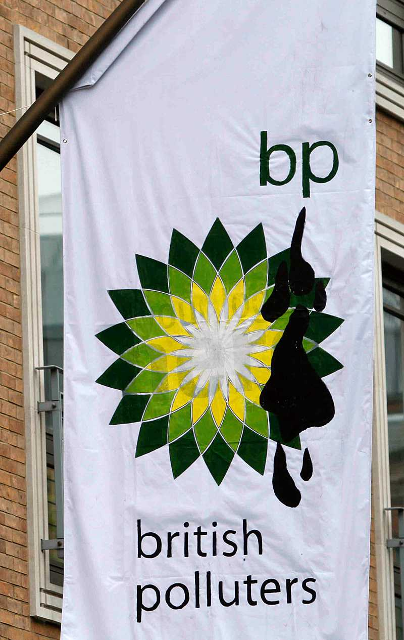 Greenpeace tolkning av BP:s logotyp.