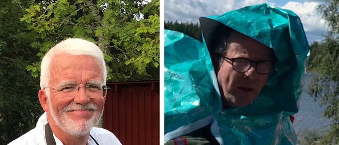 Hans Marklund och Per Lindbäck. Den senare iklädd värmefilt från räddningstjänsten.