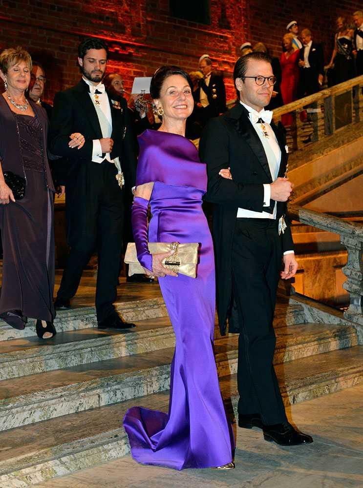 Prins Daniel med Joy Hirsch, hustru till medicinpristagaren James E Rothman.