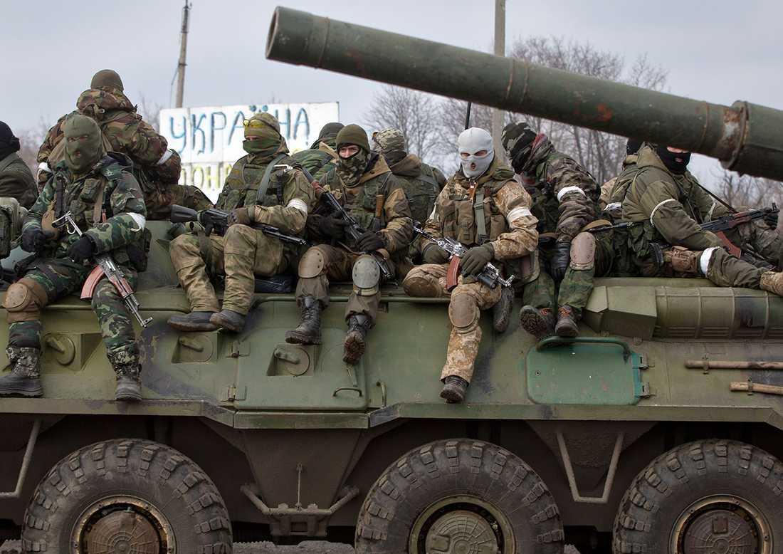 Proryska separatister i Debaltseve i östra Ukraina.