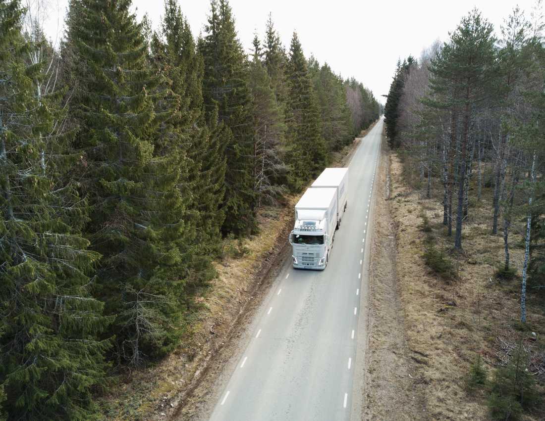 Nästan hälften av alla tunga fordon kör för tungt lastade. Arkivbild.
