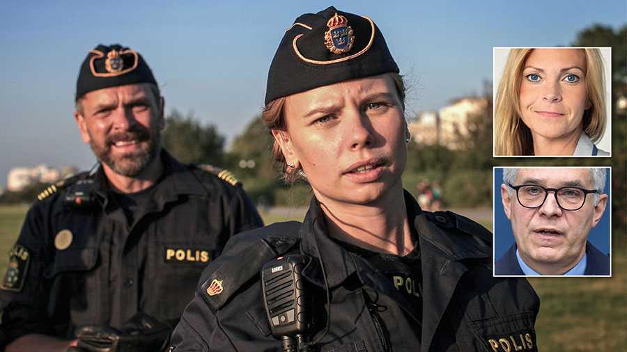 """I SVT-serien """"Tunna blå linjen"""" blir polismännen utsatta för glåpord och hot. Varje arbetsdag ute i samhället möter poliser en bristande respekt – något som riskerar att hota vår demokrati. Skyddet för poliser måste därför stärkas, skriver Lena Nitz och Anders Thornberg."""
