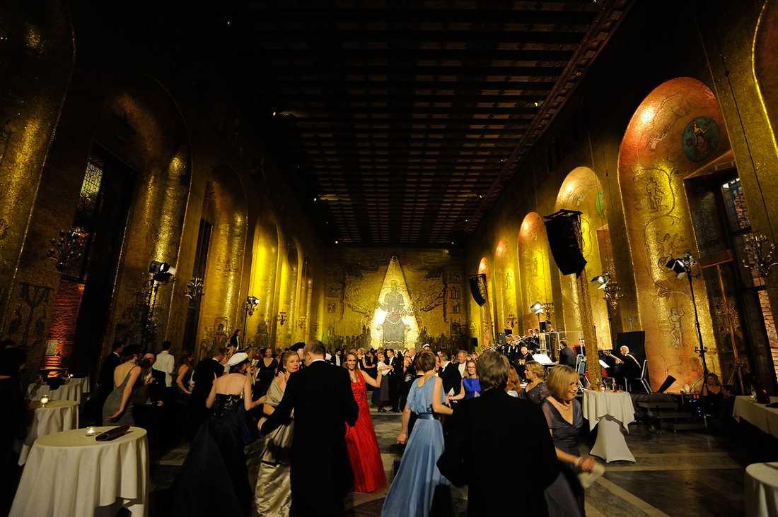 Gyllene salen i Stadshuset under Nobelfesten 2013.