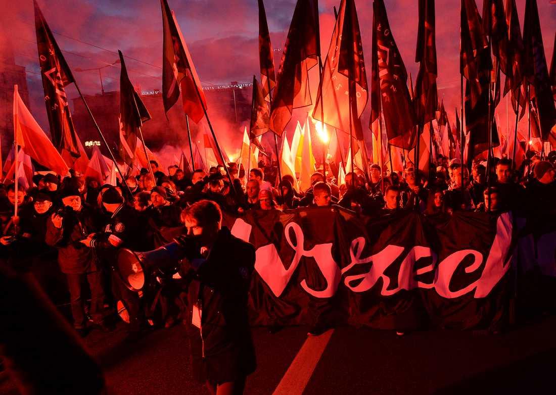 Tiotusentals människor deltog i den årliga marschen för att fira Polens självständighetsdag.