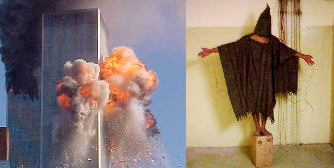 3000 människor dog i attacken mot tvillingtornen i New York. Till höger: Tortyr i Abu ghraib-fängelset i Irak.
