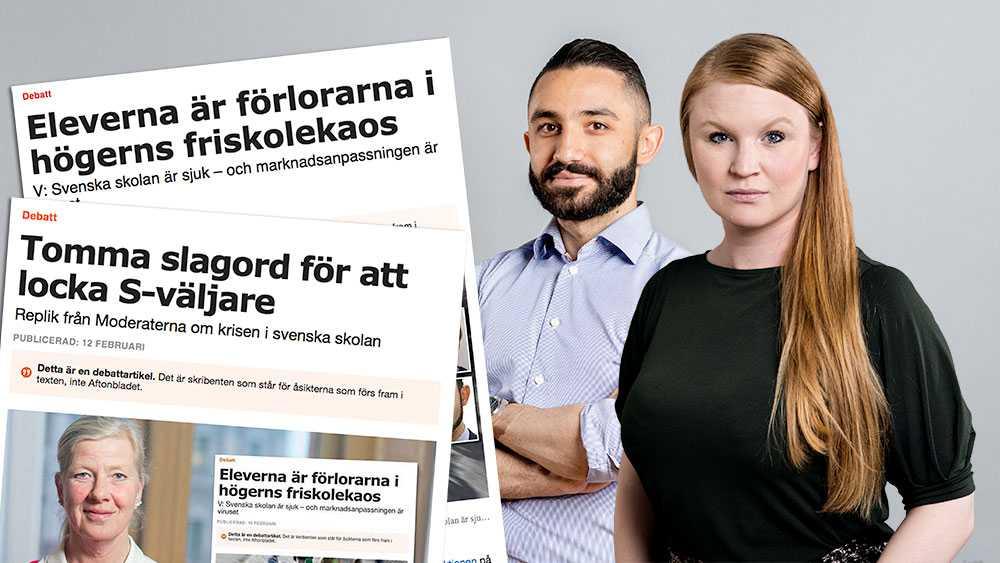Vi i Vänsterpartiet menar att det är marknadsanpassningen av skolan som lett till att oseriösa företag kan suga ut skattemedel från det svenska skolsystemet. Vi tycker att de pengar som går till skolan ska gå till elevernas skolgång, skriver Clara Lindblom och Daniel Riazat (V).