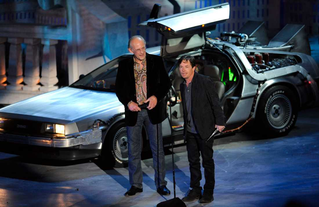 Michael J Fox och Christopher Lloyd vid 25-årsjubileet av filmen.