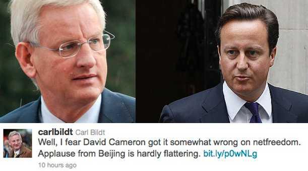 Så skrev Carl Bildt (vänster) om David Cameron (höger).