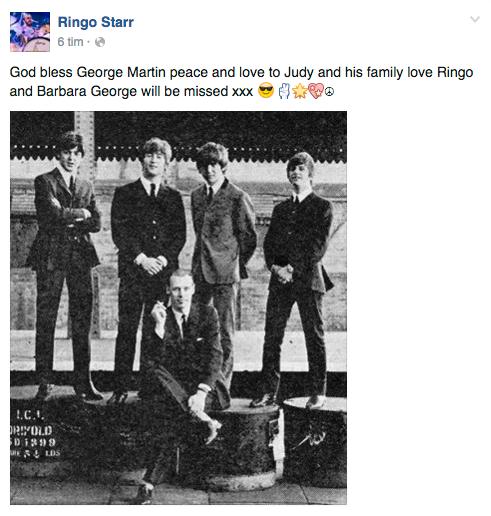 """""""Gud välsigne George Martin. Frid och kärlek till Judy och hans familj. Kärlek från Ringo och Barbara. George kommer bli saknad. xxx"""" skriver """"The Beatles""""-trummisen på Twitter."""